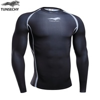 Fitness T Shirt Men Compression Shirts Long Sleeve Tight Tee Shirts Quick Dry Workout Clothes Men