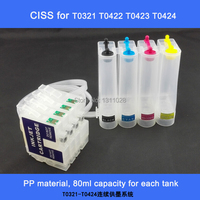 T0321 T0424 Chipped Empty Bulk Ink System CISS Ink Refill Kit For Stylus C82 C82N C82WN
