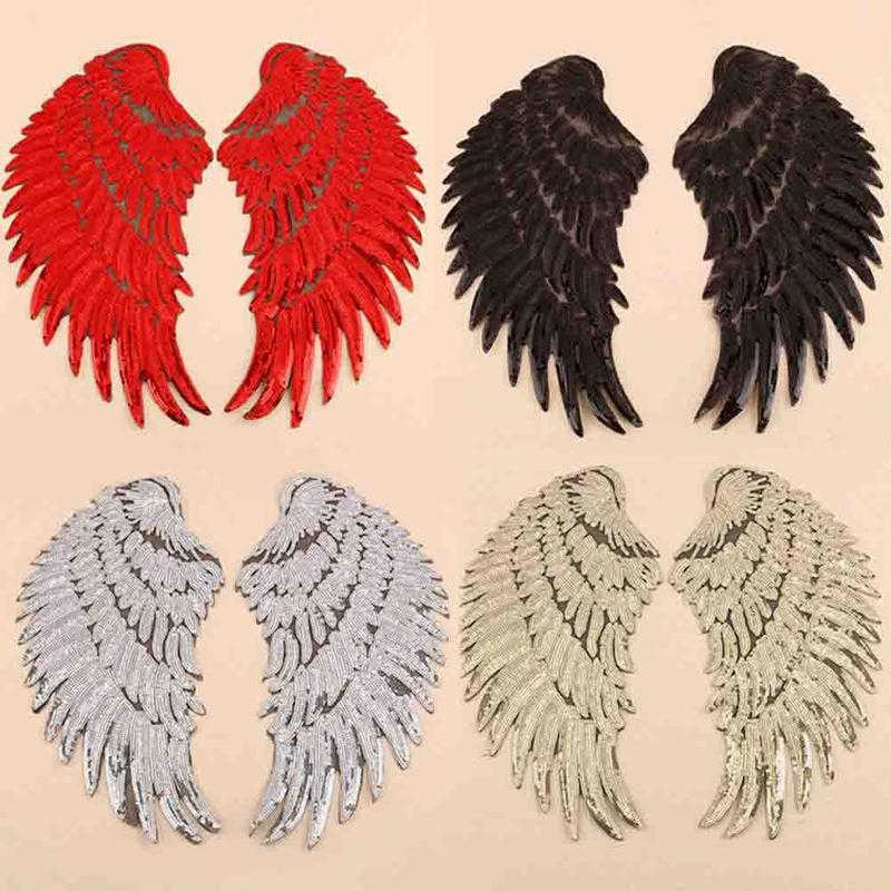 1 Pair 32/20.5cm Angel Wings Applique Patch Embroidery Sewing Iron On Sequin Patches Clothes Stickers Jeans Fabric Patch Sewing