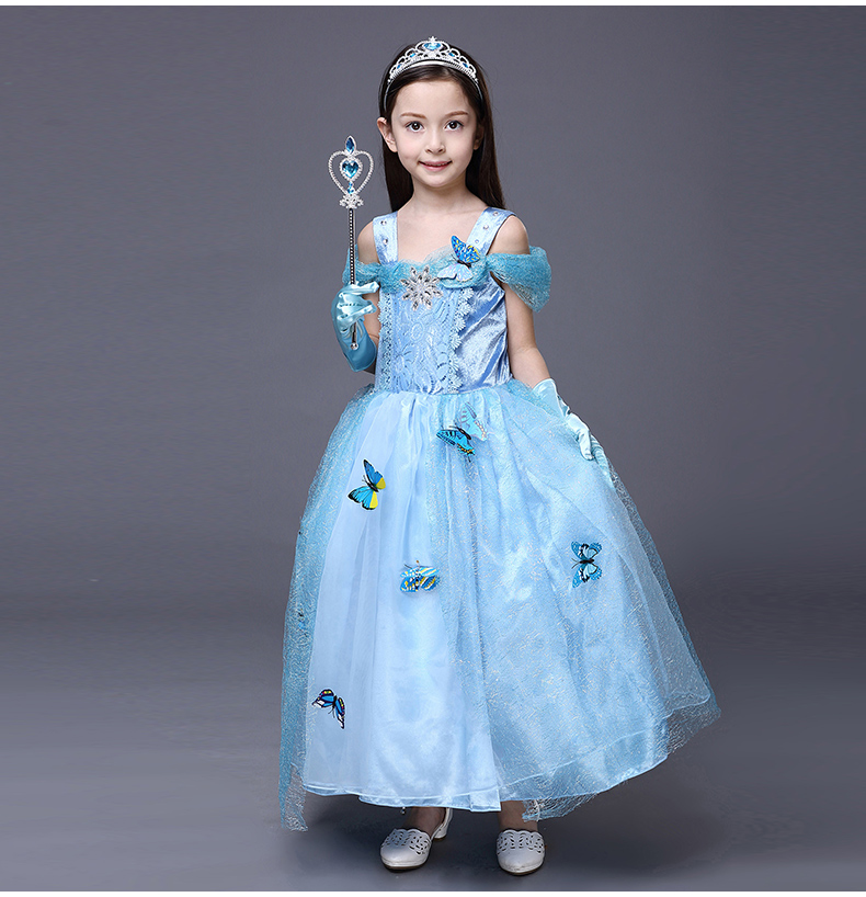Kids Spring Winter Girl Dress cartoon Cinderella princess Elegant
