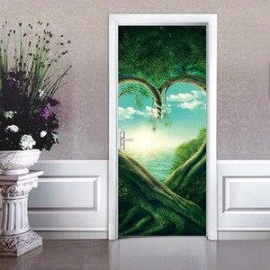 Image 2 - Serce zielony drzewa roślin 3D drzwi naklejki DIY Mural imitacja wodoodporna tapeta z PCV naklejki ścienne sypialnia wystrój domu