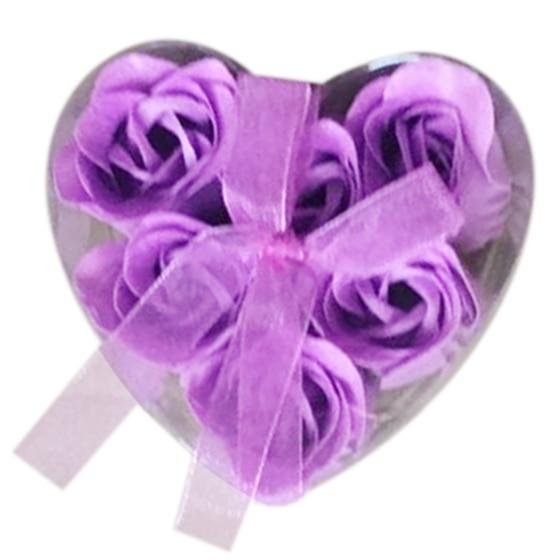 6 Pieces Purple Bath Tub Shower Rose Petal Soap Floral Soap Soap