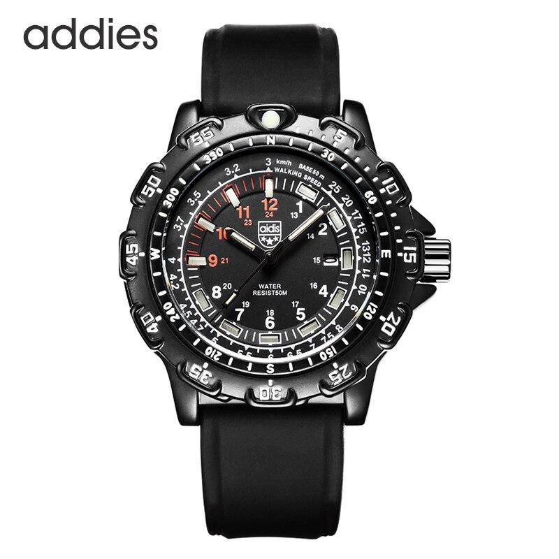 Waterproof 50M Military Quartz Watches Tritium Luminous Chronograph Stop Watch Luxury Silicagel Strap Diving Men Watch