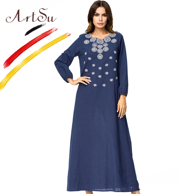 ArtSu Women Plus Size Dress V Neck Long Sleeve Embroidery Ethnic ...