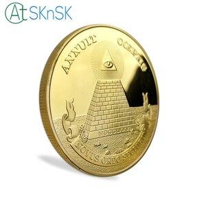 Image 4 - 10 sztuk/partia pozłacane pamiątkowe monety piramidę majów Regalia amerykański jednym okiem otwartym, pamiątkowe monety kolekcje prezenty 40*3mm