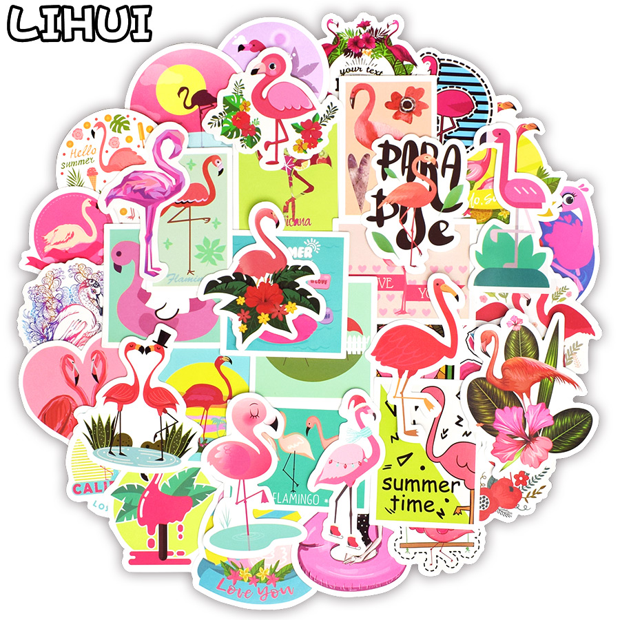 50 PCS Flamingos Sticker Lovely Dream Cartoon Girl Stickers for Kids DIY Notebook Luggage Bicycle Fridge Guitar Laptop Stickers