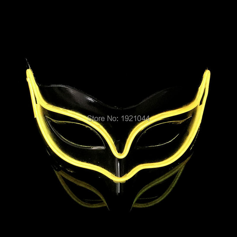 Make up party glow mask EL Wire Glowing Mask Blinking Color Yellow with 3V Steady on Inverter for Glow Party Supplies