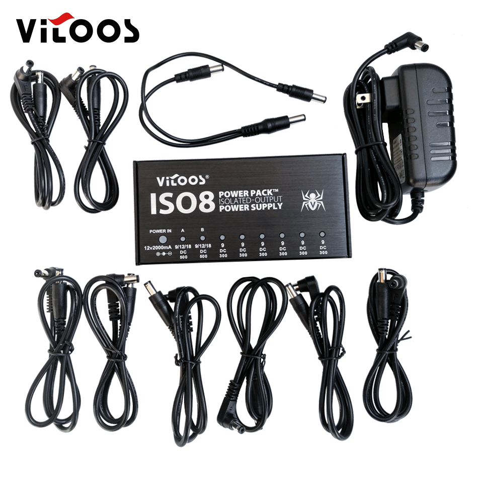 VITOOS IS08 POWER PACK ISOLATED OUTPUT POWER SUPPLY 8 pcs DC cables plus 1 Y cable effect pedal supply pack n pedal