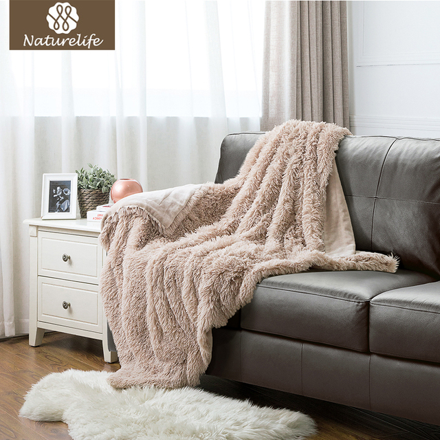 Genial Naturelife Super Soft Faux Fur Blanket Warm PV Fleece Blankets Throw On Sofa  Bed Plane Camel