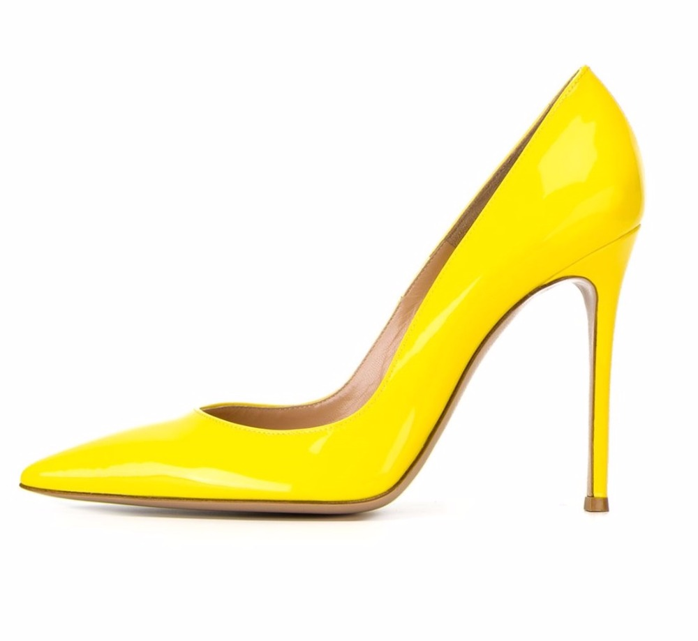 ФОТО Amourplato Women's Stiletto High Heels Patent Pumps Pointed Toe Low Cut Slip On Business Work Party Dress Shoes Yellow Color
