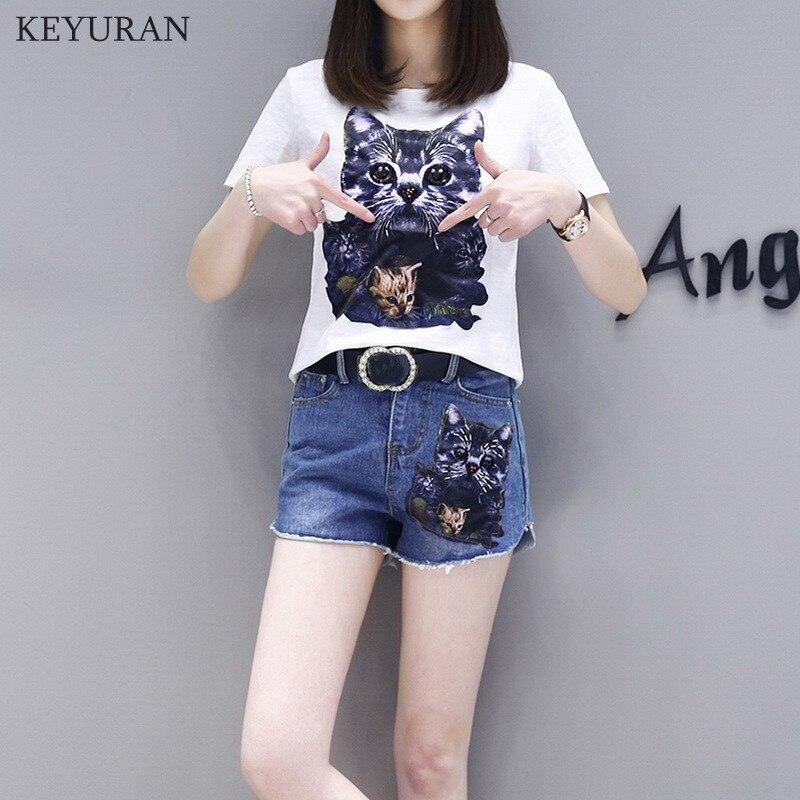 XL-5XL Women s Summer Suits 2018 New Cartoon Cat Appliques Cotton Tops and Denim Shorts Two Pieces Sets Plus Size L1950