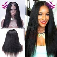 Hotsale Italian Yaki U Part Wig Human Hair 100% Virgin Brazilian #1 Color 18 Inch Heavy Yaki Straight Upart Wig For Black Women