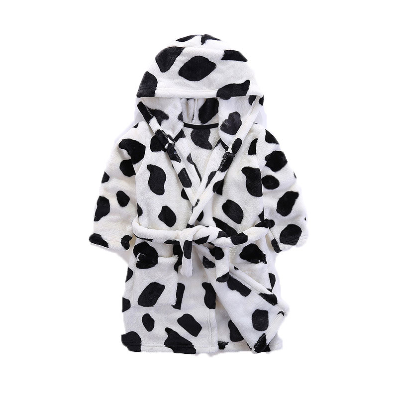 Flannel black and white cow spot robe.Bathing and sleeping in clothes.Childrens nightgowns, pajamas.Boys clothes