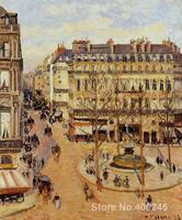 Art Reproduction Rue Saint Honore Morning Sun Effect Place du Theatre Francais Camille Pissarro Paintings handmade High quality