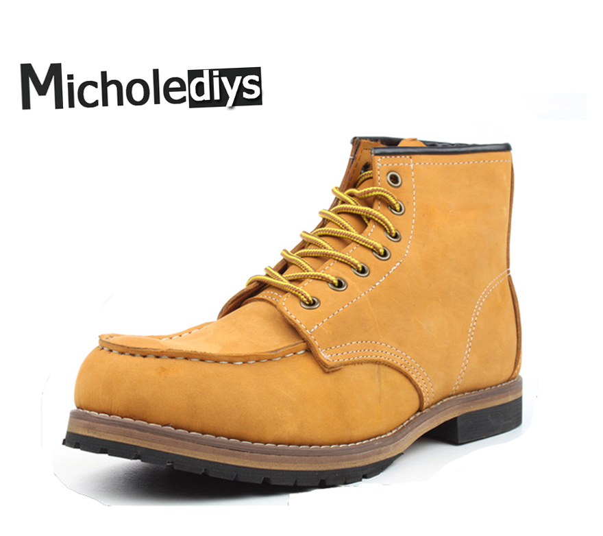 Micholediys New arrival Winter Handmade Vintage All-matching Green Leather Boots Men's Botas Martin Tooling Boots Wing Brown USA micholediys winter new arrival handmade