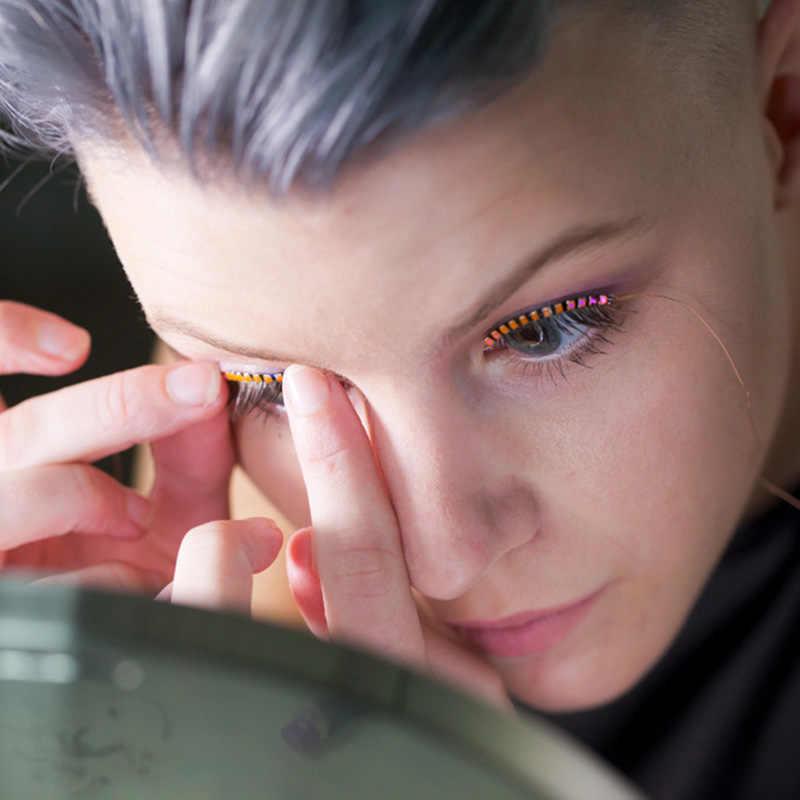 55537fcfd93 ... LED Eyelashes Eyelid False Eyelashes LED Light Eye Lash Luminous  Shining Eyelash for Party Bar Makeup ...