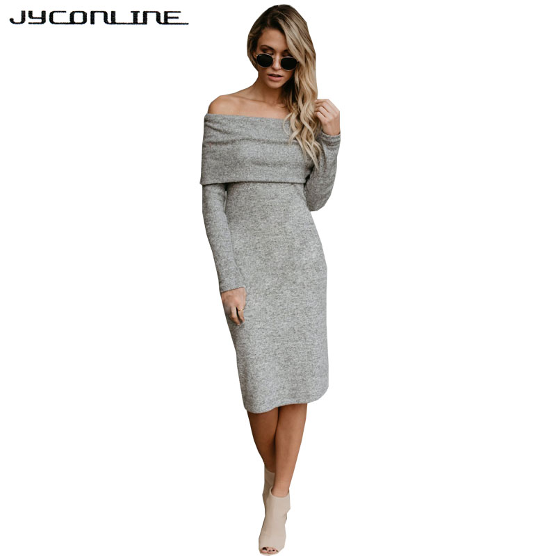 JYConline Off Shoulder Sweater Dress Bodycon Long Sleeve Office Elegant Sexy Dress Women Knitted Dresses Robe Winter Vestidos sweet off the shoulder long sleeve bodycon sweater dress for women