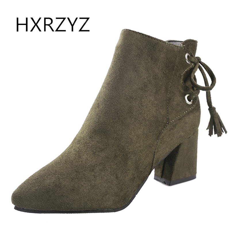 HXRZYZ suede black ankle boots women winter boots spring/autumn new fashion thick high heels pointed toe side zipper shoes women стоимость