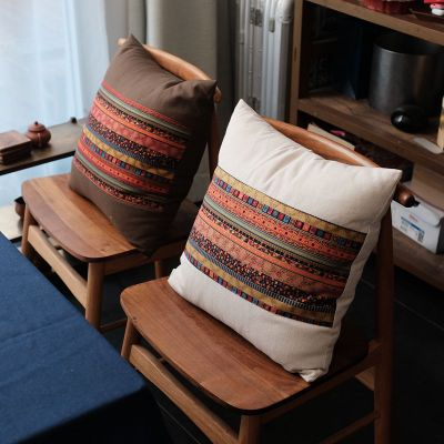 Chinese Style Ethnic Square Cushion Set Cotton and Linen Hold Pillowcase <font><b>Pillow</b></font> Lumbar Support <font><b>Case</b></font> 45*45/<font><b>50*50cm</b></font> image