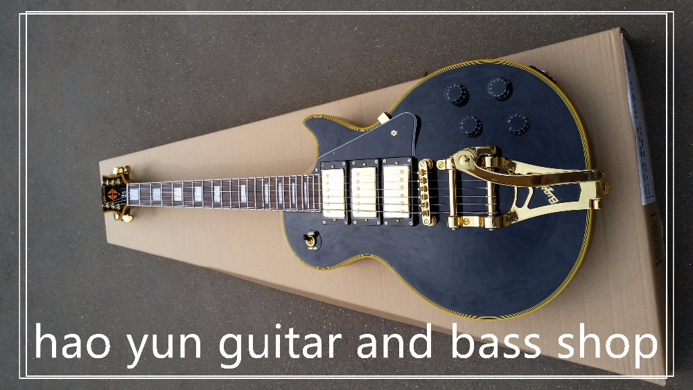 Good Cheap Price LP Custom Electric Guitar 1957 Black Jimmy Page Signature China Guitar Ebony Bigsby Tremolo Bridge