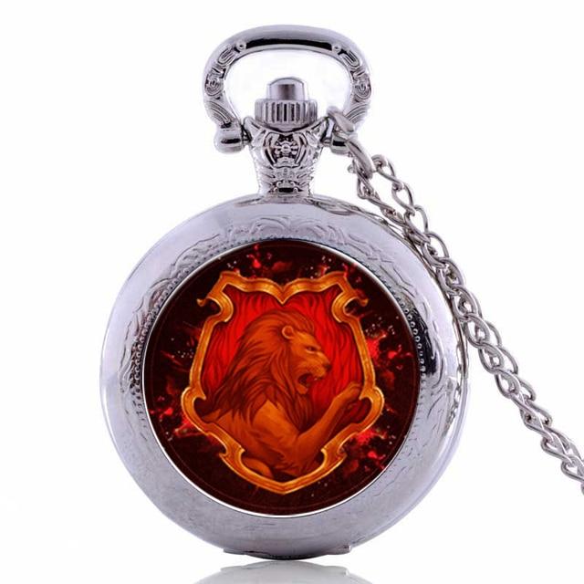 Harry Potter GRYFFINDOR Lion Mens Womens Quartz Pocket Watch Analog Pendant Neck