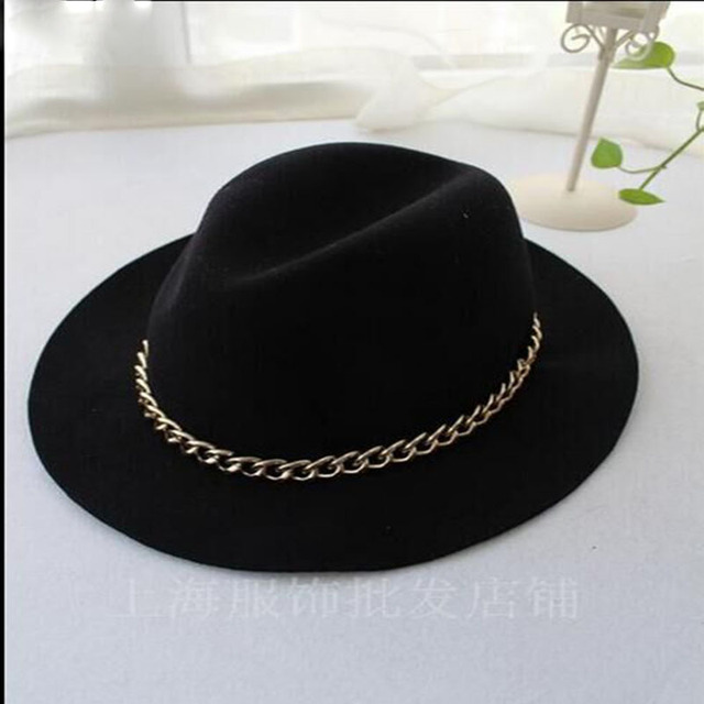 2016 Winter Spring Fashion Women Wool Fedora Hat Vintage Wide Brim Floppy Wool Felt Jazz Cap Fedora Cloche Hat Panama Cap