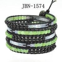 Высокое качество смешанные камни с выбранный стеклянные бусины упаковка браслеты бисером картина богемный кожаный браслет йога браслет