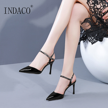 Heels Women Shoes Ankle Strap Pumps High Heel 8.5cm Leather