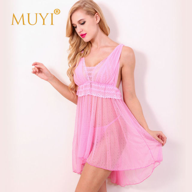 Pink Babydoll Dot Nightgowns Pyjamas With Sexy Underwear Negligee Bridal Dress Casual Clothes Sleepwear Exotic Apparel Free Size
