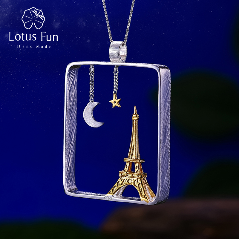Lotus Fun Real 925 Sterling Silver Handmade Fine Jewelry Eiffel Tower Design Pendant without Necklace Acessorios for Women zea sl814 1y women s eiffel tower shaped zinc alloy zircon pendant necklace silver
