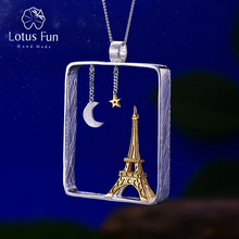Lotus Fun Real 925 Sterling Silver Handmade Fine Jewelry Eiffel Tower Design Pendant without Necklace Acessorios for Women