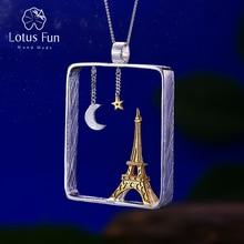 Lotus Plezier Echte 925 Sterling Zilveren Handgemaakte Fijne Sieraden Eiffeltoren Ontwerp Hanger Zonder Ketting Acessorios Voor Vrouwen
