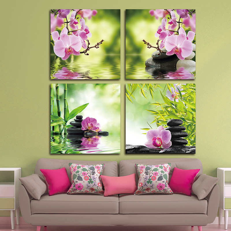 BANMU Butterfly Orchid Flower Zen Stones Wall Art Bamboo Picture Print on Canvas Modern Art Wall Modular Painting Without Frame