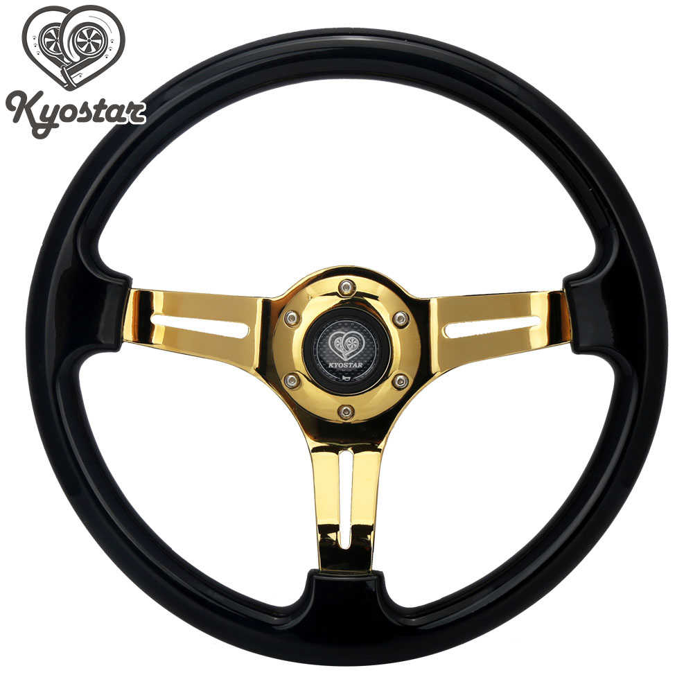"Universal 350mm 14 ""Polegada ouro falou volante carro de corrida plana nob clássico preto abs volante"