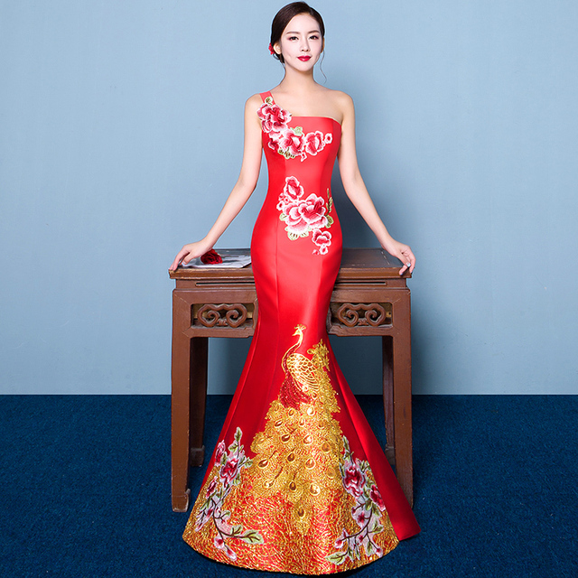 Chinese Traditional Dress Backless Cheongsam Long Qipao Vestido Oriental Red Evening Gown China Wedding Dresses Robe Chinoise
