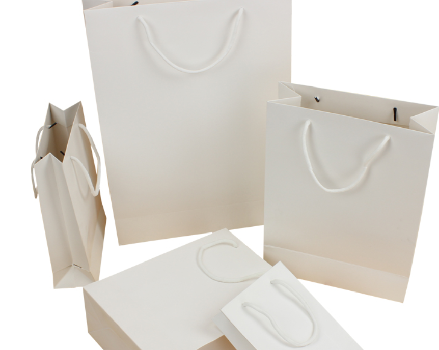 20pcs White Kraft Paper Bag With Handle Party Gift