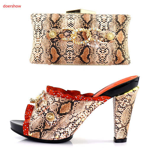 doershow 2018orange shoes and bag matching set for african lady wedding party nice italy design sandal shoes  and clutcheHKU1-16