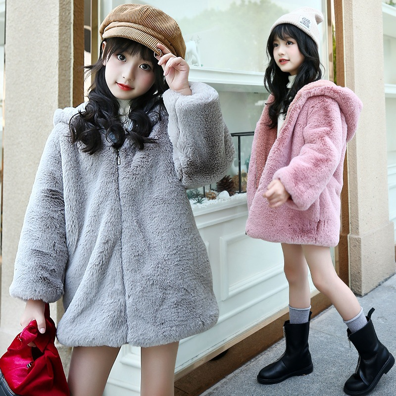2018 Girls Winter Jackets Warm Faux Fur Fleece Coat Children Jacket Rabbit Ear Hooded Outerwear Kids Jacket for Girls Clothing