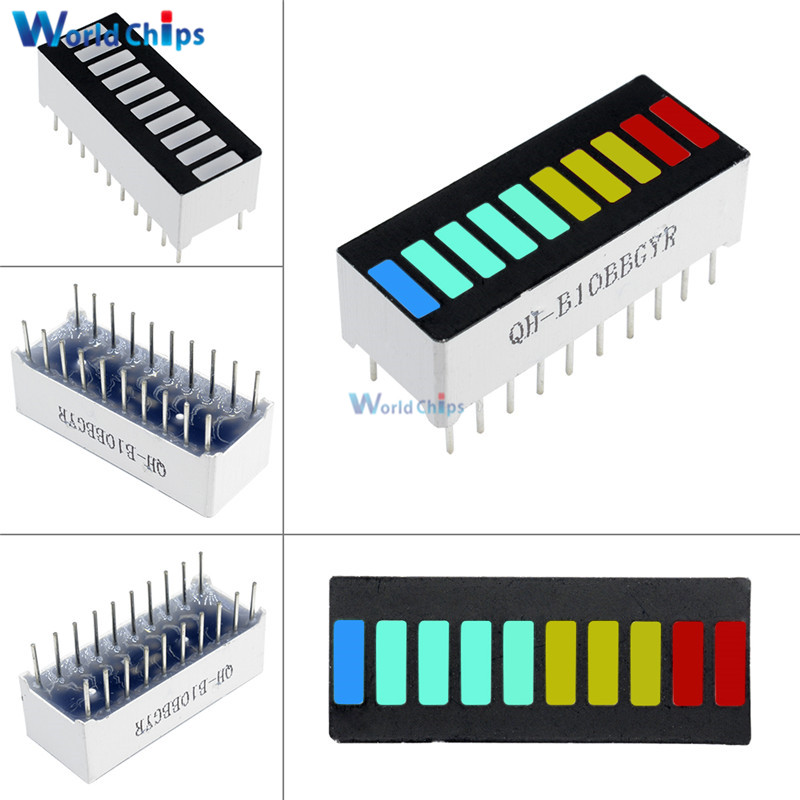 10Pcs 10 Segment LED Bargraph Light Display Module Bar Graph Ultra Bright Red Yellow Green Blue Colors Multi-color DIY Wholesale