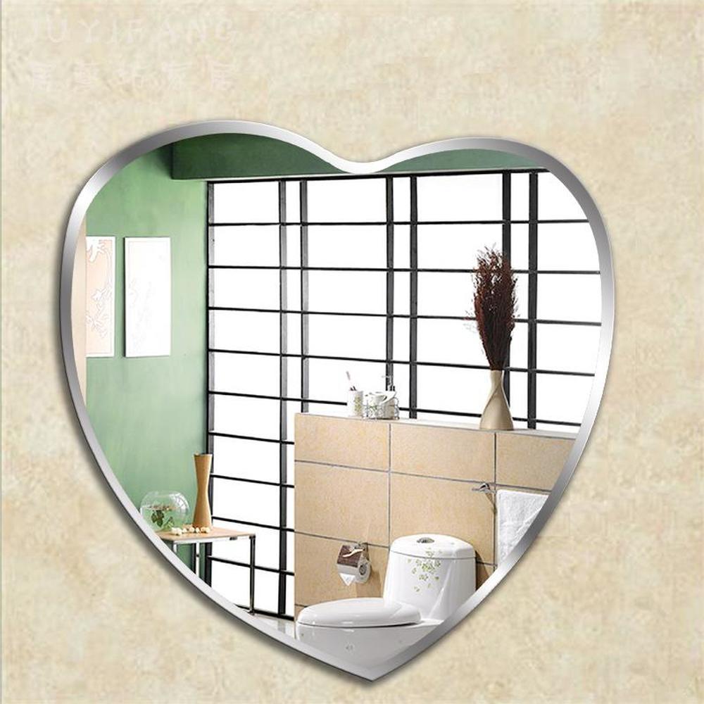 Heart shaped bathroom mirror bathroom makeup mirror wall hanging mirror wall toilet decorative mirror wx8221945-in Bath Mirrors from Home Improvement    1