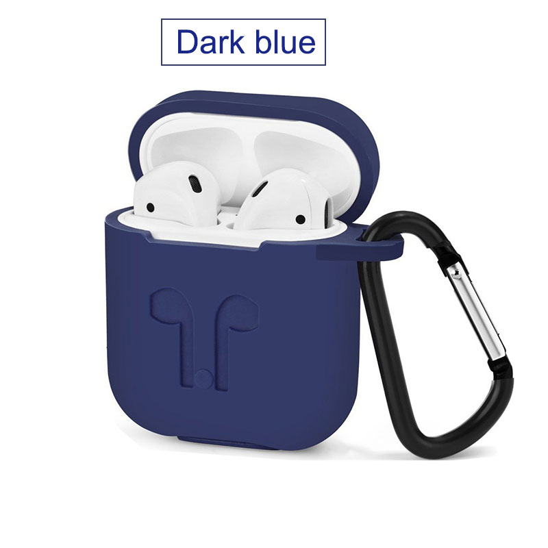 For Apple Airpods Silicone Case Soft Cover Protector with Dust Plug Anti-Lost Strap Sleeve Pouch for Air pods Earphone (1)