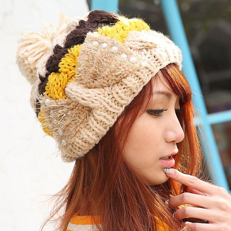 Warm Winter Knit Crochet Beret Bow Braided Baggy Skullies Women Lady Beanie Ski Hat Cap skullies