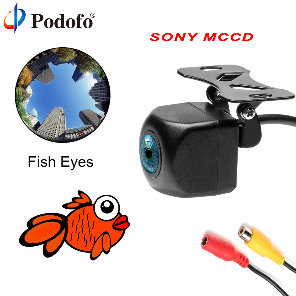 Podofo Rear View Camera SONY MCCD Fish Eyes Night Vision Waterproof IP68 Reversing Auto Backup Camera Parking Assistance Cameras