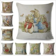 Милый чехол для подушки с рисунком кролика Питера, наволочка для подушки 45*45, плотные наволочки для подушки с принтом, декор в виде животных, подушки из хлопка и льна, наволочка