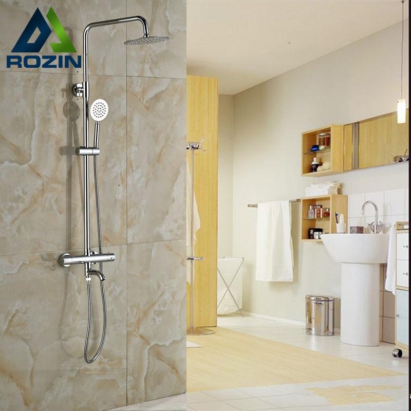 Polish Chrome 8 Thermostatic Rain Shower Faucet Set Dual Handle Wall Mount Tub Shower Mixer Tap + Hand Shower