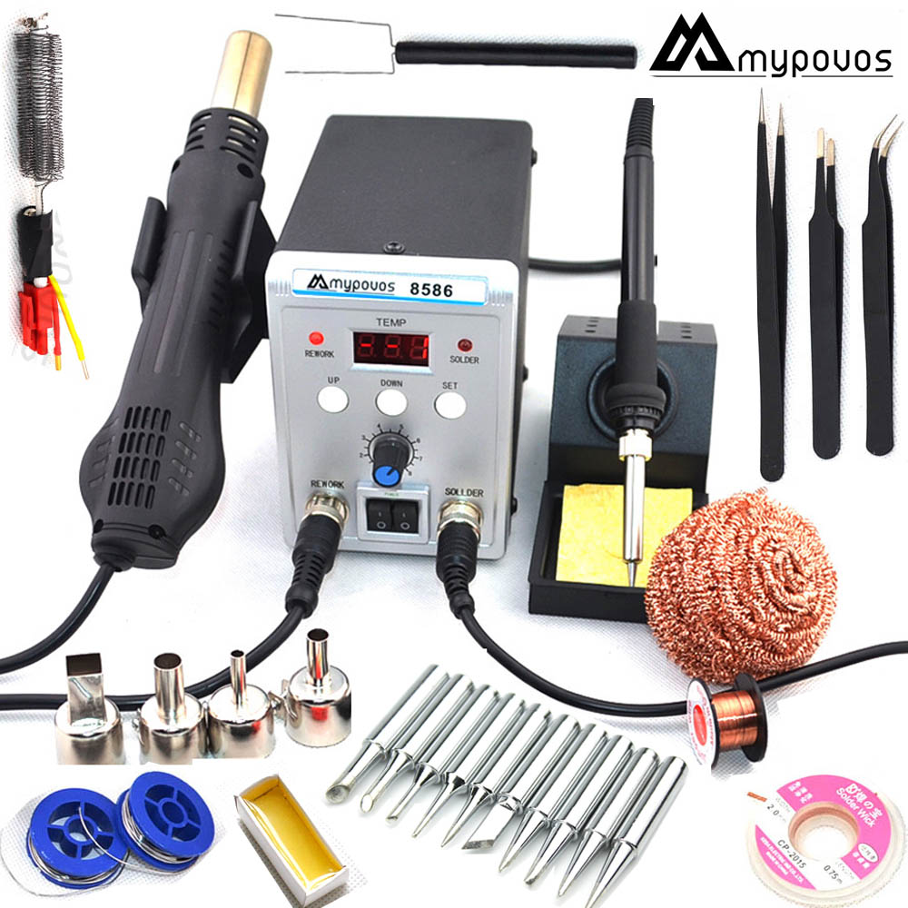 MYPOVOS 750W 2 in 1 SMD Equipment Rework Station 8586 Hot Air Gun 220V + Solder Iron + Heating ElementMYPOVOS 750W 2 in 1 SMD Equipment Rework Station 8586 Hot Air Gun 220V + Solder Iron + Heating Element