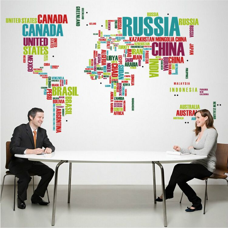 Colorful world map wall stickers names of the countries map wall 2 pcs world map poster country name sticker home dec funny bedroom for children wall sticker gumiabroncs Images