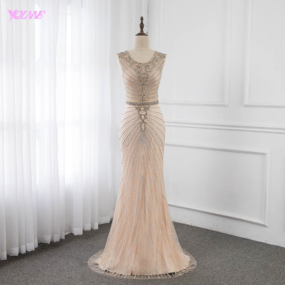 Silver Rhinestones Long   Evening     Dresses   Nude Lining Mermaid Zipper Side Luxury Gowns YQLNNE