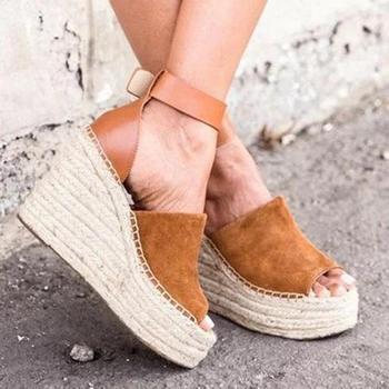 0e2f935a1c7 Oeak 2019 Platform Sandals Wedges Shoes For Women Heels Sandalias ...