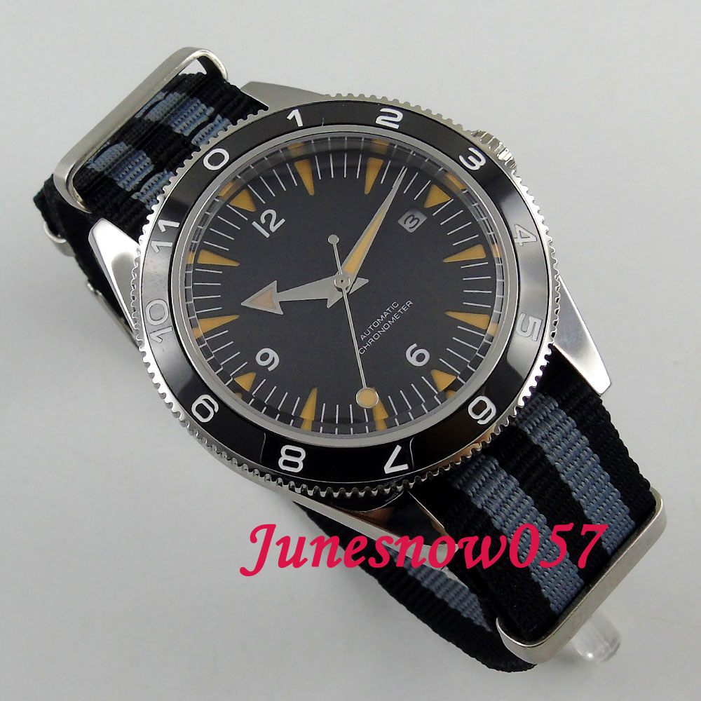 41mm Black sterial dial super luminous Sapphire Glass ceramic bezel 5ATM nylon strap MIYOTA 821A Automatic mens watch DE8541mm Black sterial dial super luminous Sapphire Glass ceramic bezel 5ATM nylon strap MIYOTA 821A Automatic mens watch DE85